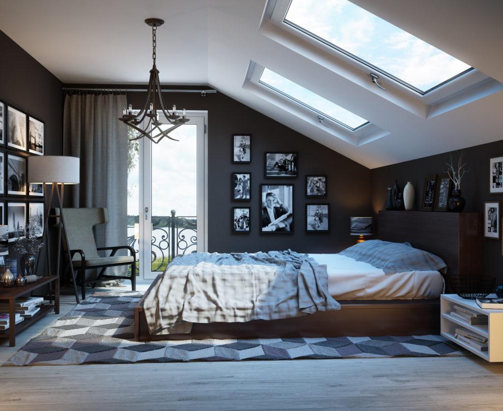 Decoración-de-dormitorio-con-techo-inclinado-Diseñadora-Marina-Egorova